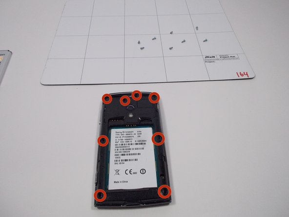 Remove the 5mm screws from back of the phone, image indicates where they are. There should be 8 screws. Use a T-6 bit.