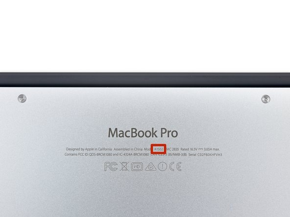 A quick look at the bottom panel reveals no surprises—this machine shares the A1502 designation with the late 2013 Macbook Pro.