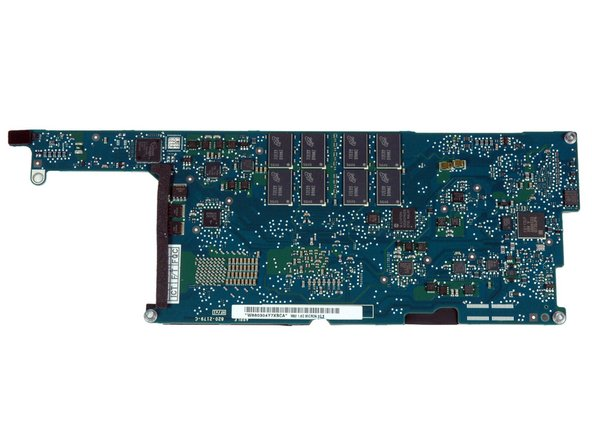 The reverse side of the logic board. Many of these chips are for power management. A high-resolution image is available here.