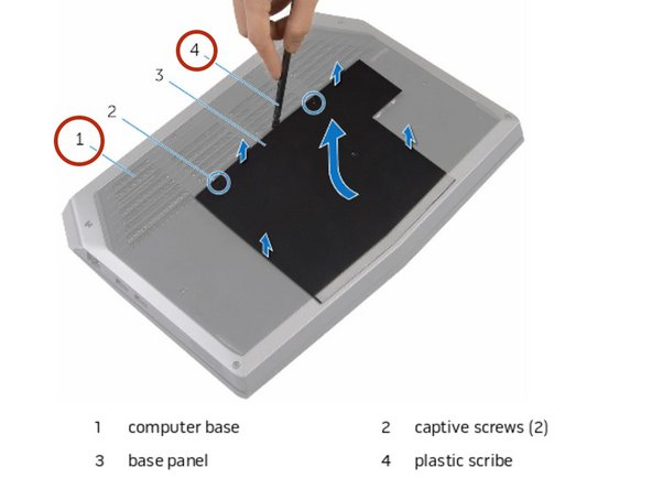 Using a plastic scribe, gently release the tabs that secure the base panel to  the computer base.