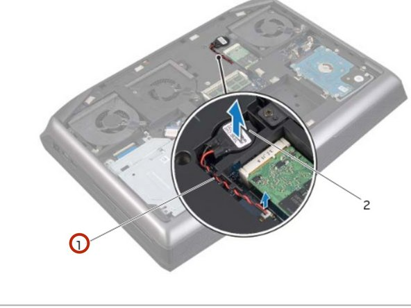 Connect the coin-cell battery cable to  its connector on the system board.