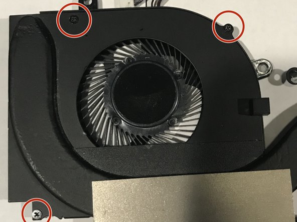 For a CPU fan replacement, which is the most common replacement, remove the three black 3.0 mm Phillips #000 screws from the singular fan.