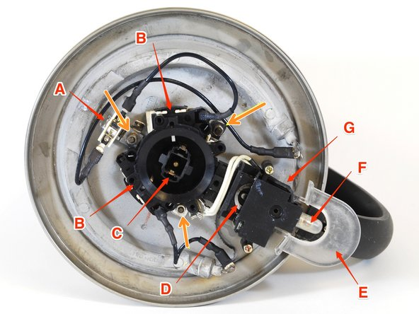 Now that you have removed the bottom from the kettle, identify all of the parts. The ORANGE arrows point to the posts for mounting the control circuit components. The RED arrows point to the following parts: