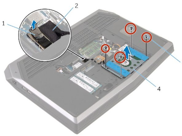 Replace the screws that secure the hard-drive bracket to the hard-drive assembly.
