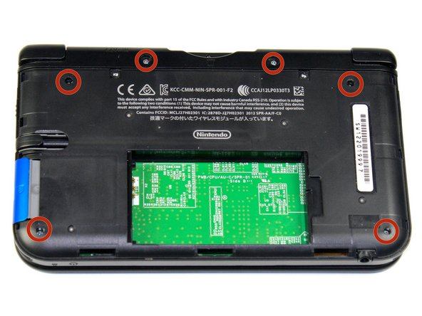 Remove the six 6.2 mm screws using a Phillips #000 screwdriver.