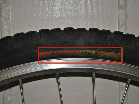 Note the size of tube needed and optimum tire pressure.