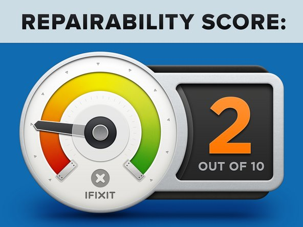 """The iMac 24"""" (M1) earns a 2 out of 10 on our repairability scale (10 is the easiest to repair):"""