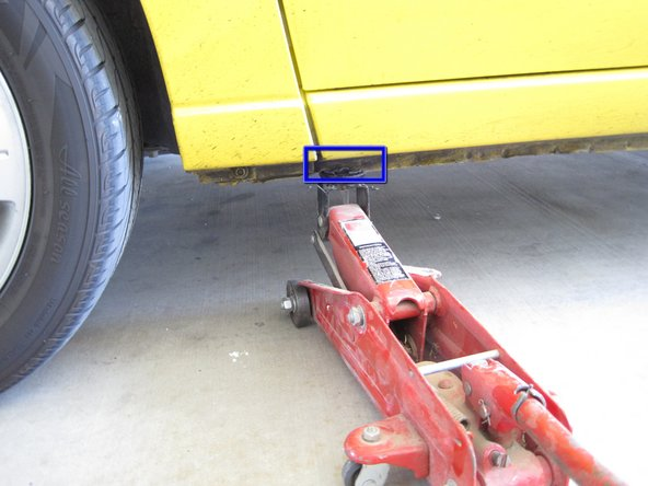 Use a hydraulic jack on the car's frame to jack the car.
