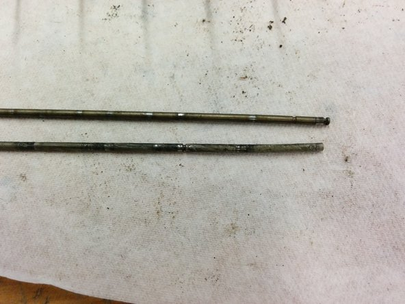 Note well the difference between the top rod and bottom rod, shown here with their right sides aligned, then their left sides aligned.