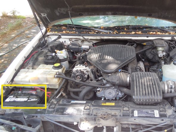 Find the battery, this is normally to the left front of the engine.