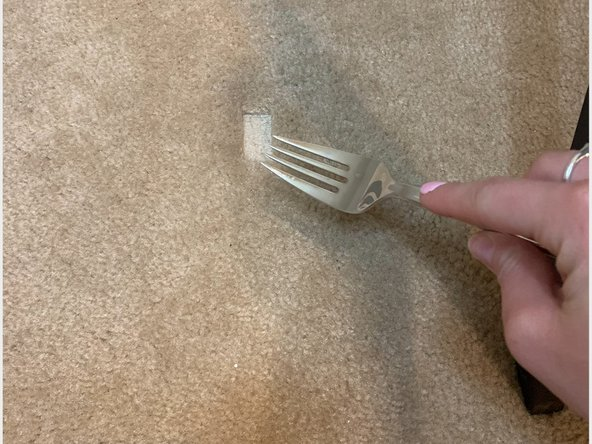 Rake the carpet with the fork to break up the fibers in the carpet.