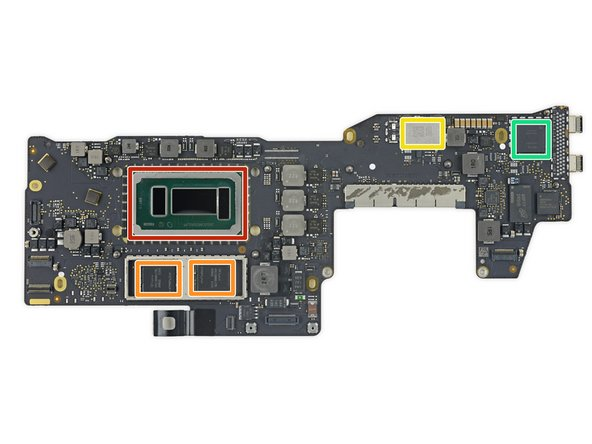We tackle the front side of the logic board: