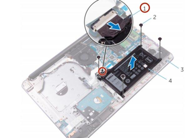 Desconecte el cable de la batería de la placa del sistema.