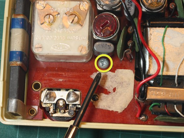 Using a Phillips #1 screwdriver, remove the lone screw in the center holding the circuit board in place