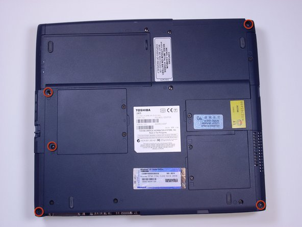Using a Phillips screwdriver, unscrew and remove 5 B20 screws, located along the corners of the bottom of the laptop.