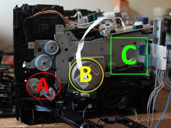 A) Kunststoffbracket mit Getriebe für Papiereinzug entfernen (2 Schrauben) –Kein Foto!