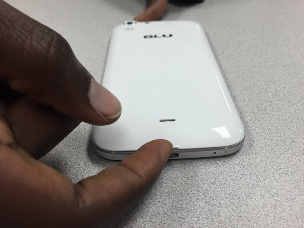 Remove the cover by lifting the notch towards the bottom of the phone. Use your fingernail to lift it up.