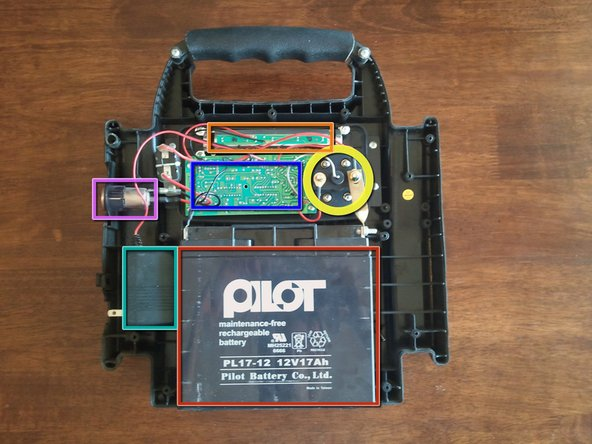Opening it up reveals the Lead battery, AC/DC converter, 12V DC input, switch, back of circuit board, back of light.