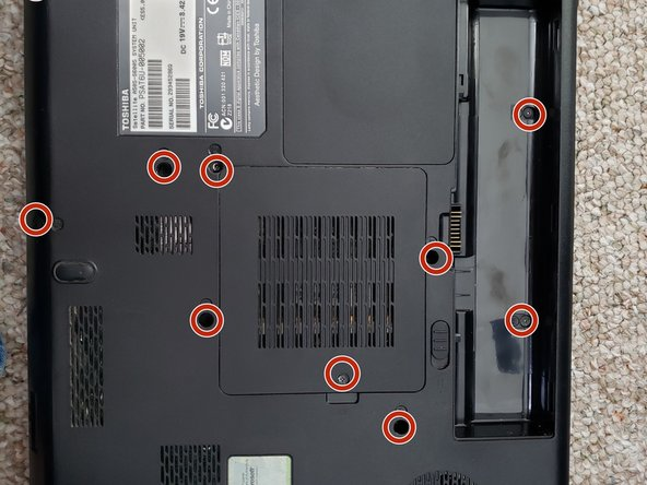 Remove nine screws with a Phillips #0 screwdriver and  then remove the cover of the hard drive/RAM.