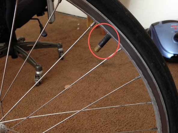 After removing the bike tire, locate the bike valve used to pump air into the tire.