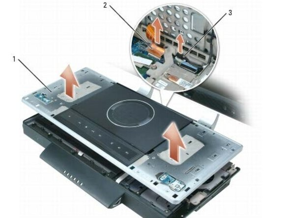 Slightly lift up the top cover, but do not fully remove it. Two cables are connected to the top cover, and they could be damaged if the top cover is improperly removed.