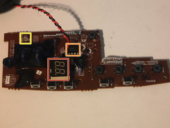 The major components on the top case board: