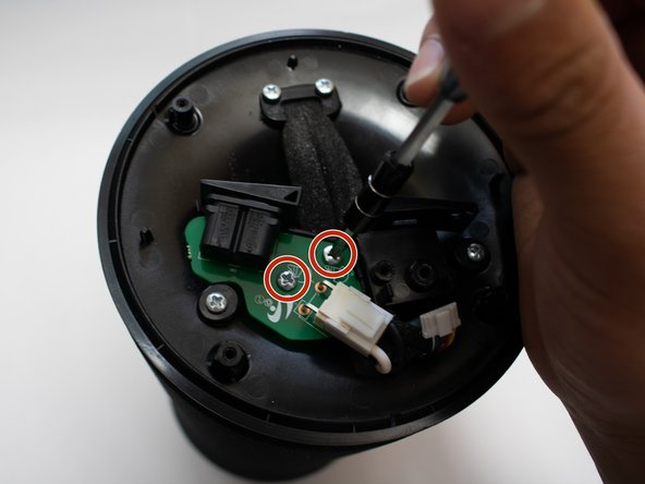 Remove the two 12mm long screws with the Phillips #1 screwdriver.