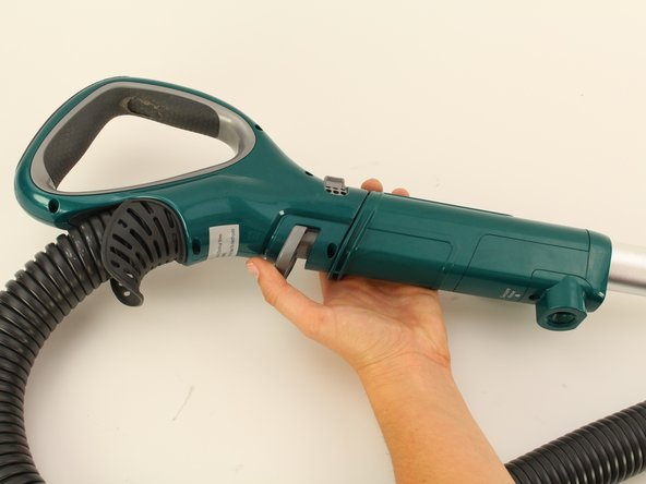 Press down on the handle release button and pull the  wand away from the vacuum.