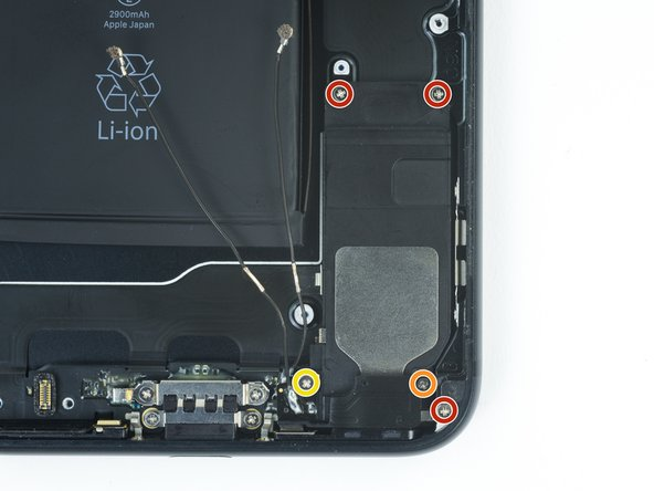 Remove the five Phillips screws securing the speaker: