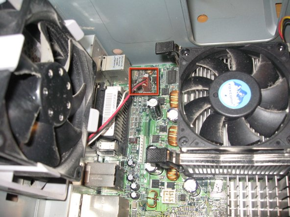 In order to remove the case fan, First disconnect its power cable from the Motherboard.