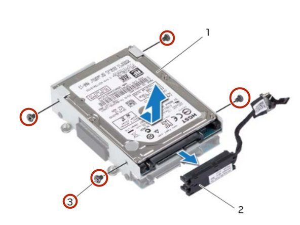 If applicable, replace the screws that secure the secondary hard drive to the hard-drive bracket.