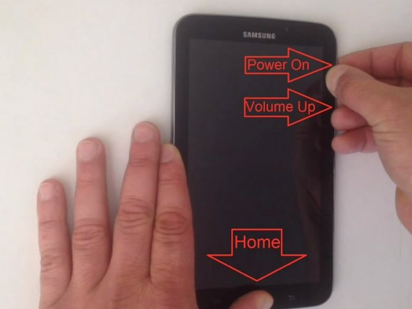 Press and hold the Home button, the Volume Up bottom, and the Power button simultaneously.