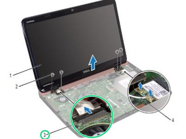 Disconnect the display cable and touch-screen cable from the system-board connectors.
