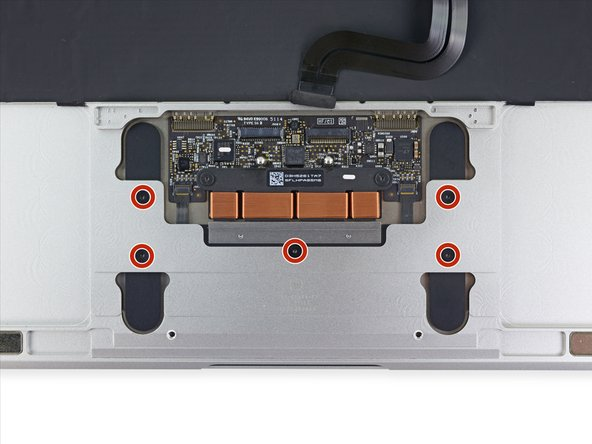 Remove the five 2.5 mm T3 Torx screws securing the trackpad to the case.
