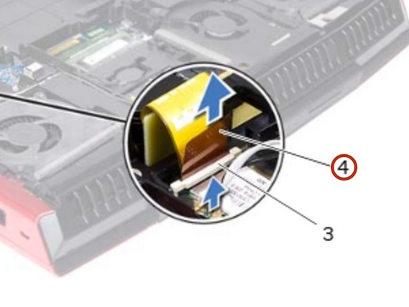 Slide the hard-drive cable into the connector on the system board and press down on the connector latch to secure the cable.
