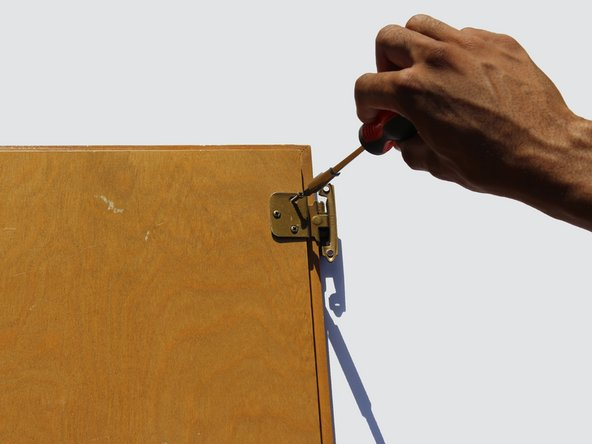 Next using a screwdriver, remove the screws attaching the hinge to the door.