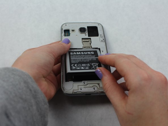 Use your fingernail or a flat tool to lift the battery out.