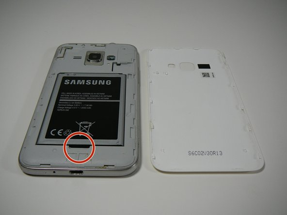 """Once the cover is removed you'll find the battery that reads """"SAMSUNG"""""""