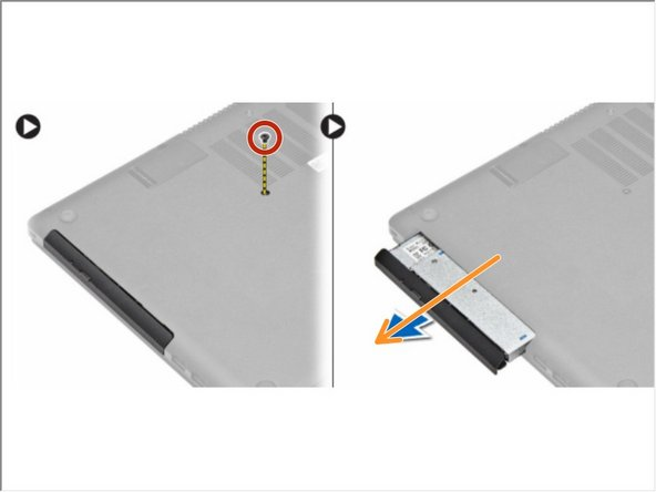 Remove the screw that secures the base cover to the computer.