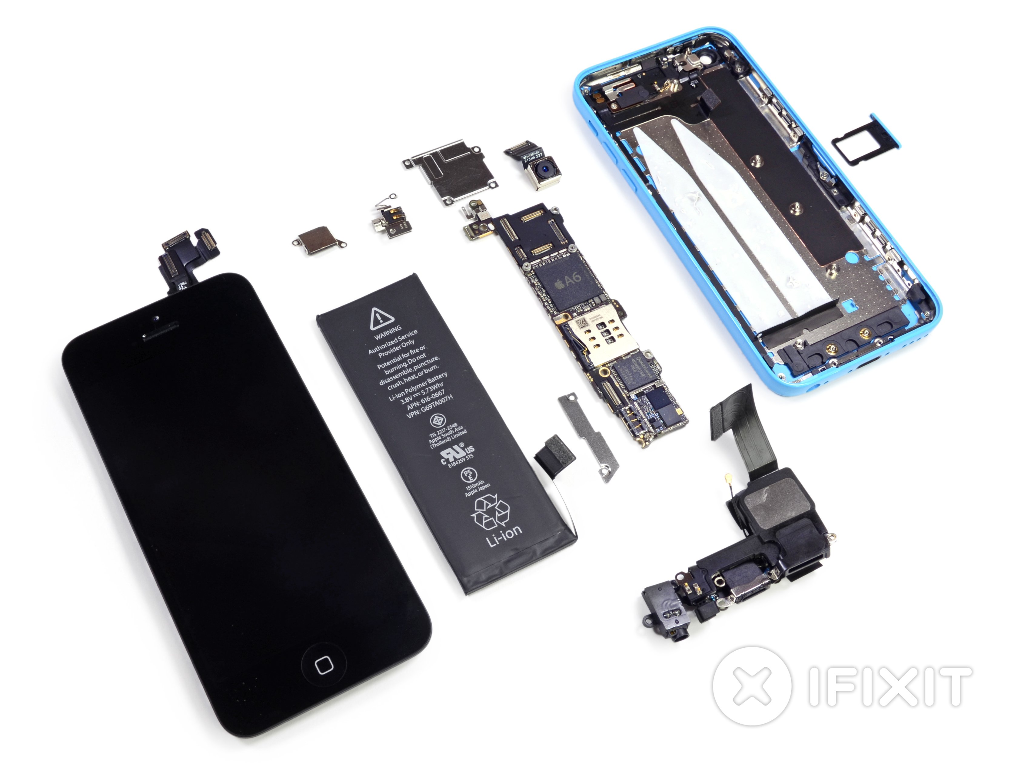 Vue éclatée de l'iPhone 5c
