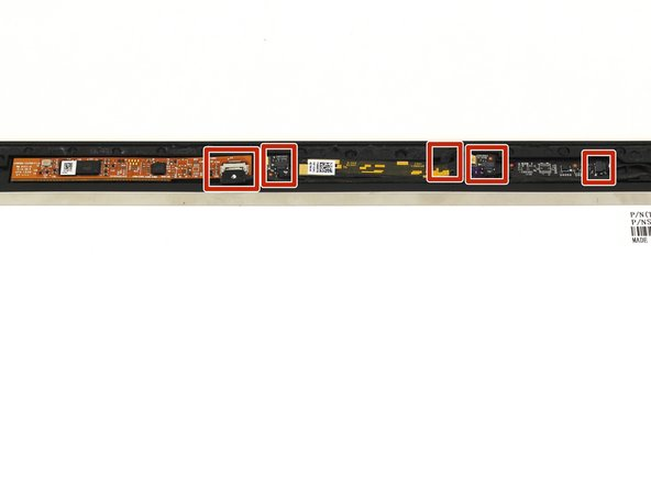 Gently unplug the five cables on the control boards on the top edge of the display with a pair of blunt nose tweezers.