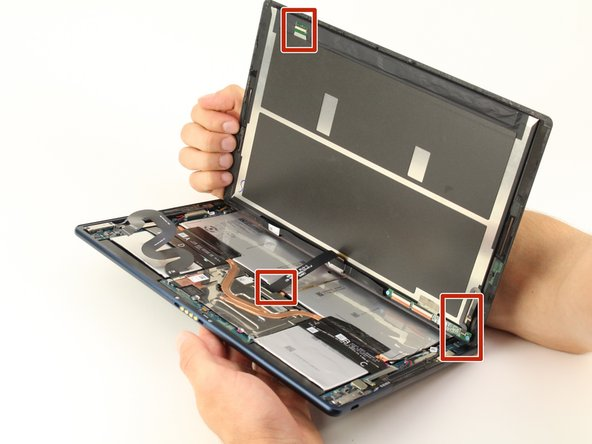 Gently disconnect  the three flat-wires from the screen.