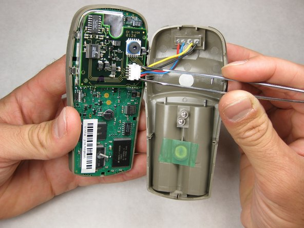 With tweezers (or your fingernails), carefully disconnect the wires between the PC input and the motherboard.
