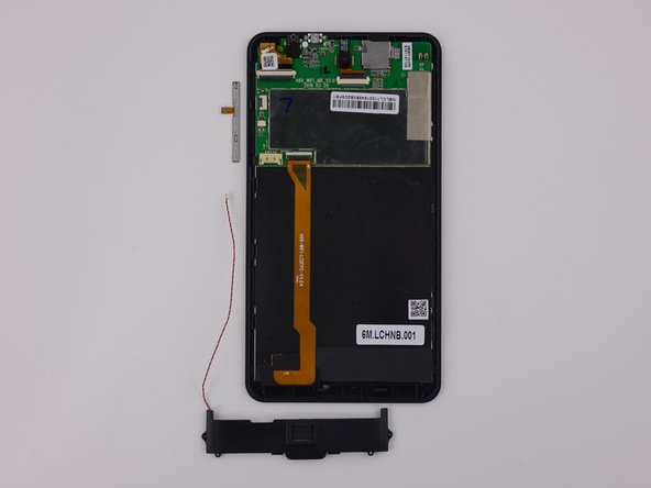 Layer of components removable upon opening: power/volume button cable, loudspeaker.