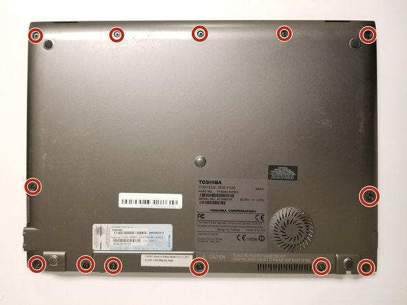 Remove the thirteen 1.4mm screws on back of device using a Phillips #2 screwdriver.