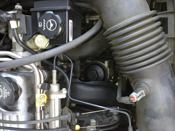 Locate the oil filter (as shown in picture) and place oil drip pan underneath.