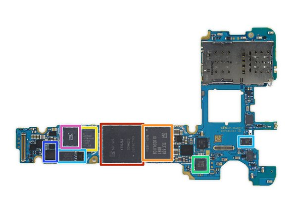 We're down to the meat and potatoes of this teardown, and it seems like Samsung unified more than their product numbering—this chipset is nearly identical to that found in the S7 and S7 Edge.