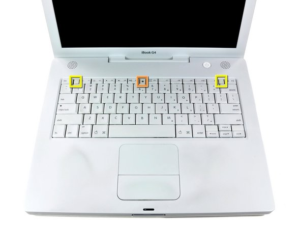 Pull the keyboard release tabs (shown in yellow) toward you and lift up on the keyboard until it pops free.