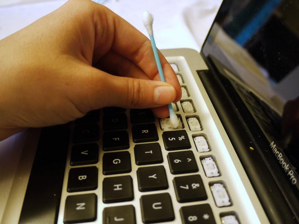 Wipe down your keyboard with q-tips damp with rubbing alcohol.