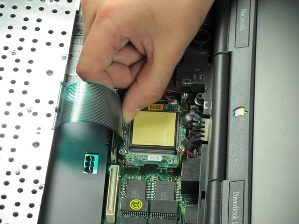 Gently pull up on the beige ribbon lock until it moves a short distance on both sides to separate the ribbon cable from the connector.